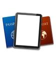 Modern computer tablet with passport vector