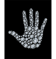 Hand made from diamonds vector