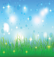 Summer sky and meadow with grass vector