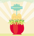 Red flowerpot with green grass and easter eggs vector
