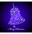 Christmas card blue bell vector