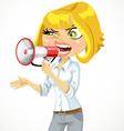 Cute blond girl shouts in a megaphone vector