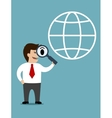 Businessman conducting a global search vector