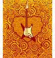 Flame guitar and heart vector