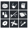 Smoking icon set vector