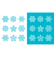 Snowflakes winter blue decoration icons set vector