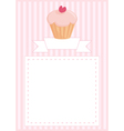 Delicious cupcake card with sweet background vector