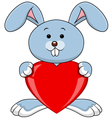 Funny rabbit holds love heart vector