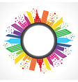 Abstract colorful building design around circle vector