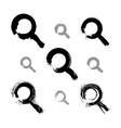 Set of hand-painted monochrome magnifying glass vector