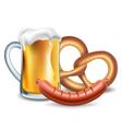 Oktoberfest food beer sausage and pretzel vector