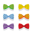 Set of colorful polka dot bow ties vector