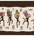 Dancing figures wearing african masks vector