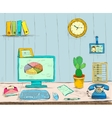 Business workplace office interior desk vector