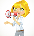 Cute blond girl speaks in a megaphone vector
