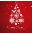 White snowflake christmas tree on red background vector