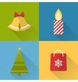 Flat christmas icons set vector