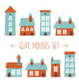 Set of cute houses hand drawn cartoon kids style vector