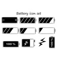 Black and white battery icons vector