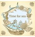 Sketch sea life in vintage style vector