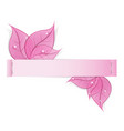 Paper strip with pink leaves and drops of dew on a vector