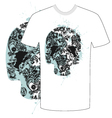 Tshirt skull abstract vector