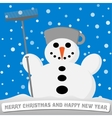 Snowman with a broom and a pot on his head vector