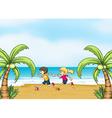 Kids jogging along the seashore vector