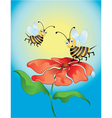 Happy bees with red flower vector