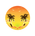 Palm tree sunset vector