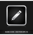 Pencil pen icon silver metal vector