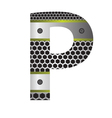 Perforated metal letter p vector