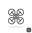 Quadrocopter simple monochrome icon vector