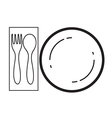 Empty plate with spoon and fork vector