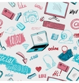 Seamless doodle social media background vector