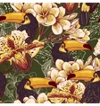Tropical seamless parrern with flowers and toucan vector