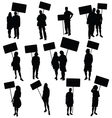 People holding blank board silhouette vector