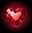 Red shining ruby heart shape on dark background vector