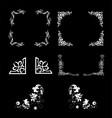 Set of frame style pattern isolatedcorner floral vector