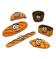 Cartoon bread bakeries vector