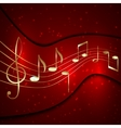 Abstract red musical background with golden notes vector