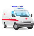 Ambulance van with red cross vector