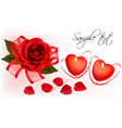 Red roses and two heart candles vector