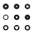 Black camera shutter icons set vector