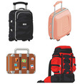 Travel suitcase and mountain bag vector