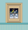 Night sky view through the window vector