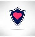 Heart and love shield icon health defence concept vector