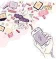 Hand holding mobile phone with social media vector