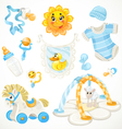 Set of blue baby toys objects clothes and things vector
