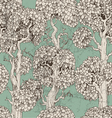 Seamless pattern of dark enchanted old trees vector